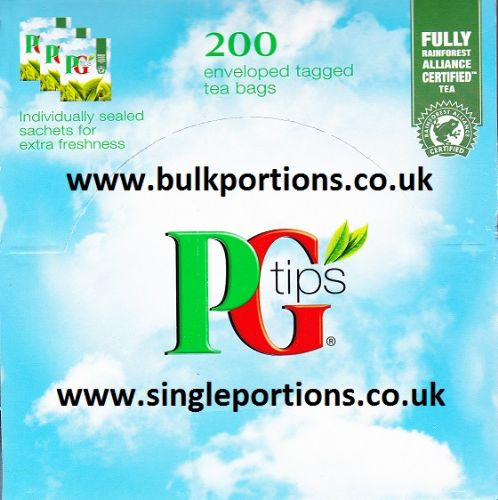 PG tips - 200 x Envelope tea bags - single portions - BULK PORTIONS